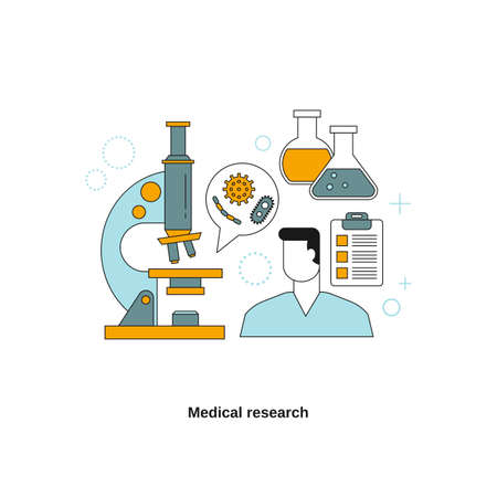 Medical research concept. Vector template for website, mobile website, landing page, ui. 向量圖像