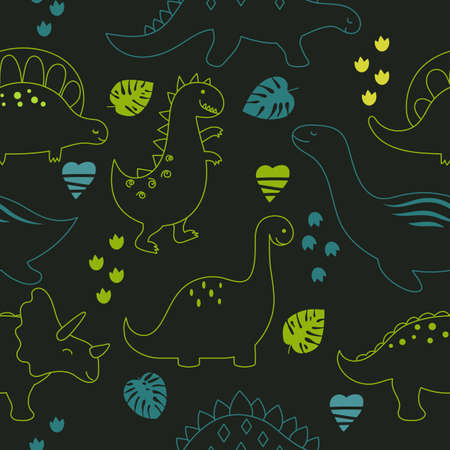 Childish seamless pattern with cute dinosaurs on black background. Outline style. Ilustração