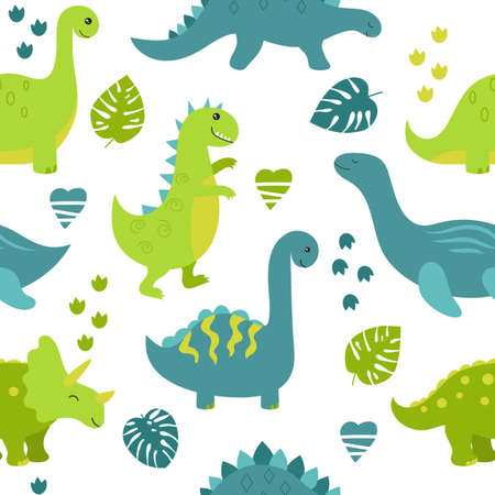 Childish seamless pattern with cute dinosaurs on white background.