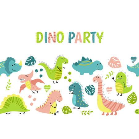 Invitation card for a dinosaur party, birthday, kids party, baby shower. Background with cute dinosaurs.