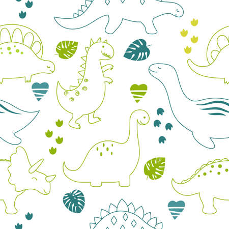 Childish seamless pattern with cute dinosaurs on white background. Outline style. Ilustração