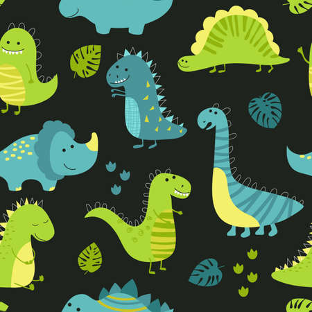 Childish seamless pattern with cute dinosaurs on black background.