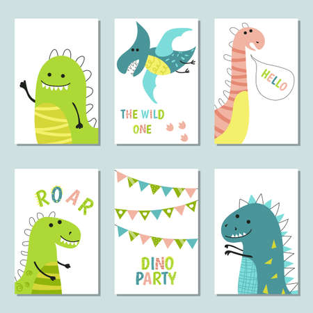 Set of invitation card for a dinosaur party, birthday, kids party, baby shower