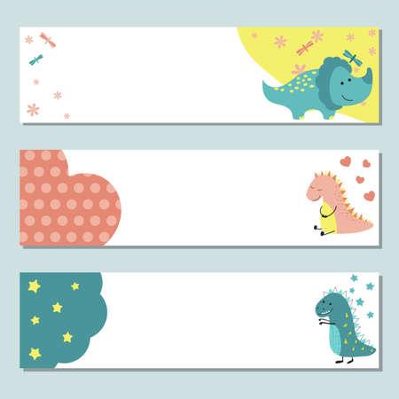 Set of three horizontal banners with dinosaurs. Vector illustration. Stock Illustratie