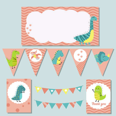 Set of birthday party elements with cute dinosaurs. Birthday party package.