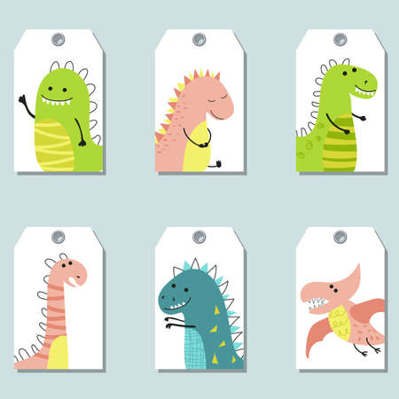 Set of cute creative cards with dinosaurs. Vector design templates for greeting, gift cards, flyers, posters etc.