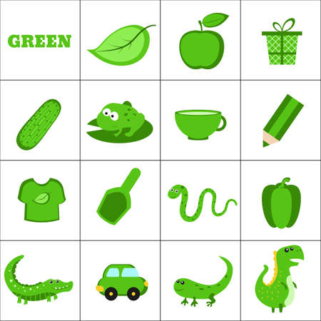 Learn the color. Green objects. Education set. Illustration of primary colors. Ilustrace