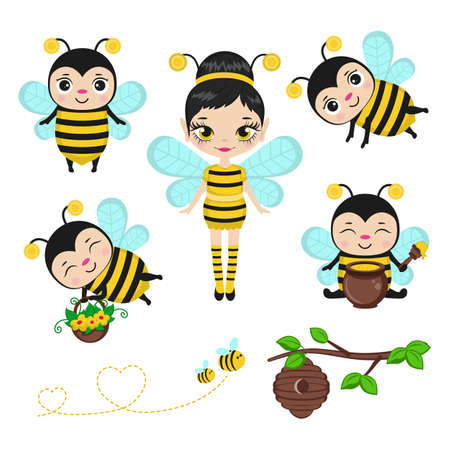 Fairy in bee costume with bee characters. Vector illustration. Ilustrace