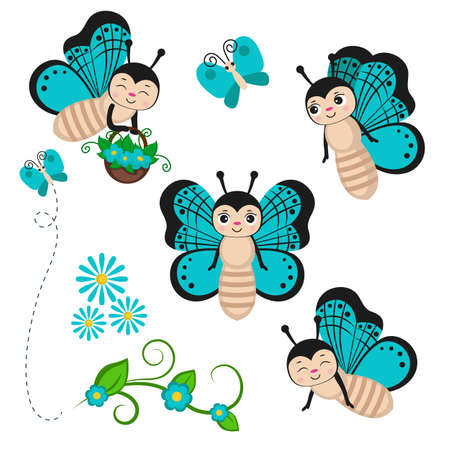 Set of butterfly characters isolated on white. Vector illustration.