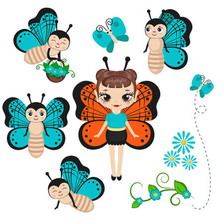 Fairy in butterfly costume with butterfly characters. Vector illustration.
