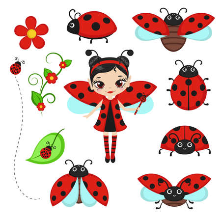 Fairy in ladybug costume with ladybug characters. Vector illustration. Ilustrace
