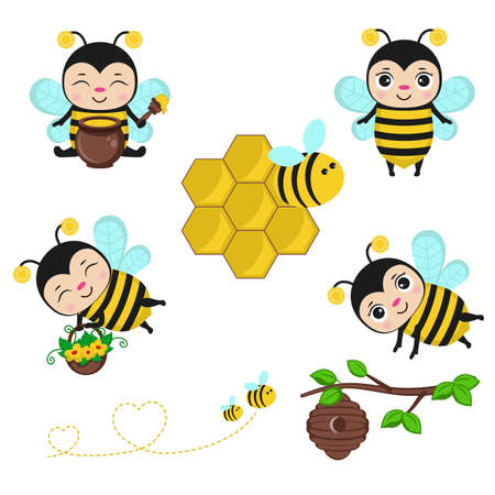 Bee characters. Set of bee, honey and other beekeeping illustration.