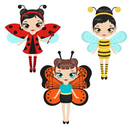 Set of cartoon fairies characters. Fairy creatures with sparkly wings. Fairies dressed as ladybugs, bees and butterflies. Vector illustration.