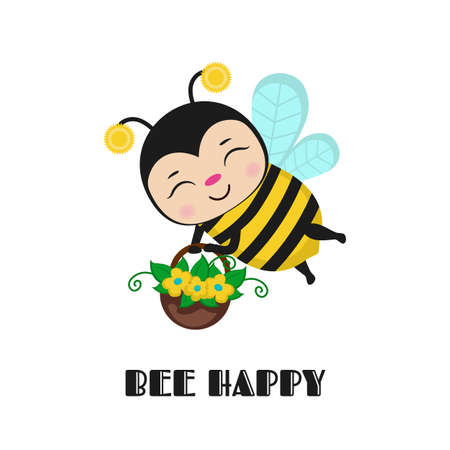 Bee happy for card design. Inspiring creative motivation quote card. Vector illustration. Ilustrace