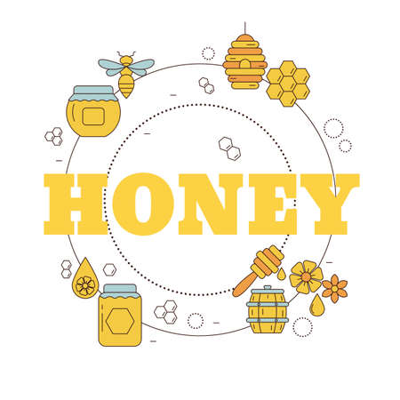 Honey and beekeeping concept. Vector illustration for website, app, banner, etc.