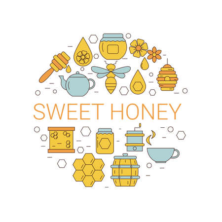 Vector illustration of honey and beekeeping icons. Honey farm objects. Eco sweet organic fresh healthy products.