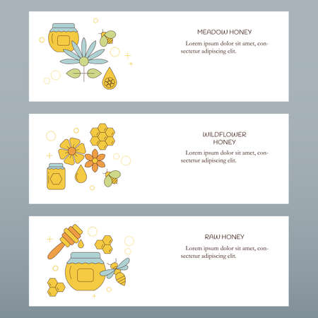 Organic honey collection concept. Vector illustration for website, mobile website, landing page, ui. Vector template. 矢量图像
