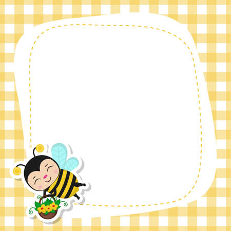 Greeting card with cute bee characters. Bee happy for card design. Inspiring creative motivation quote card. 矢量图像