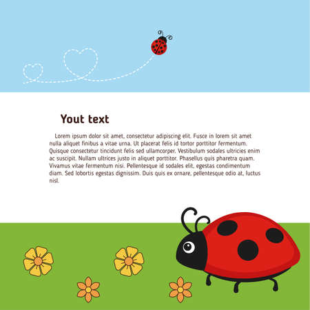 Greeting card with cute ladybug characters. Vector background.