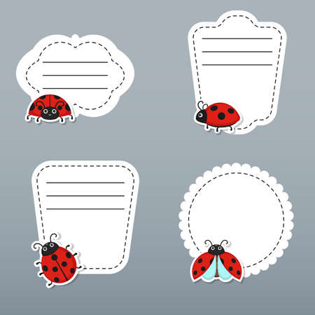 Collection of cute text frames cute ladybug characters. Vector templates for greeting gift cards, flyers, posters etc. 矢量图像