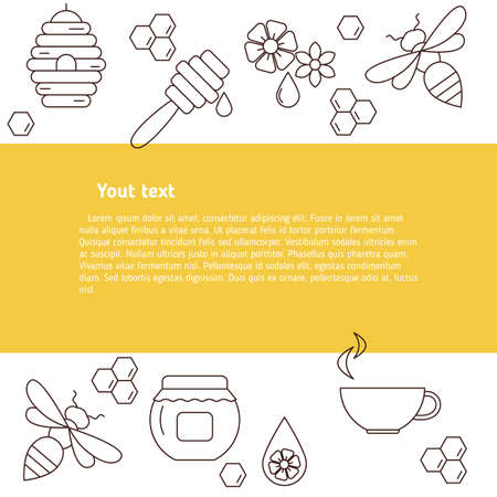 Vector honey bee background. Jar, bee, honeycomb, flower objects. Concept for honey package, banner, wrapping.