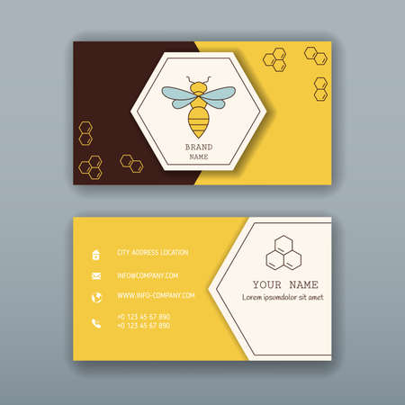 Business card designs with bee logo. Easy to adapt.