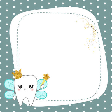 Greeting card with cute cartoon tooth fairy. Vector illustration.