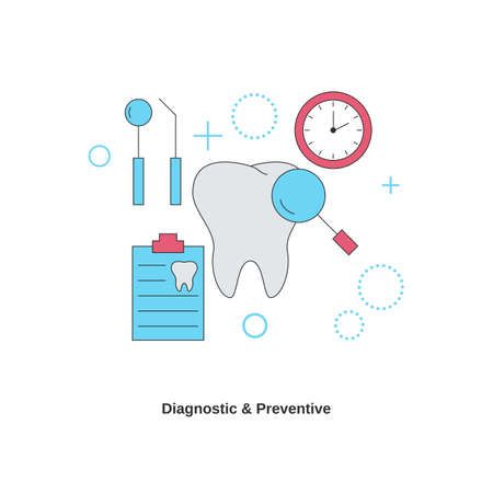 Dental services concept. Diagnostic and preventive. Vector illustration.