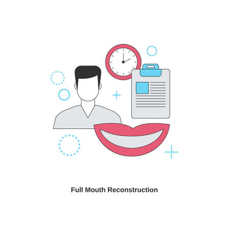 Dental services concept. Full mouth reconstruction. Vector illustration. 일러스트