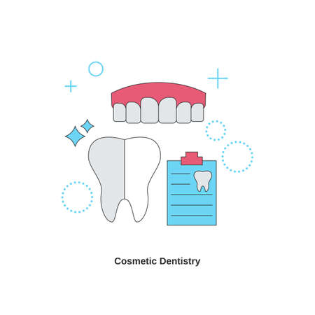 Dental services concept. Cosmetic dentistry. Vector illustration.