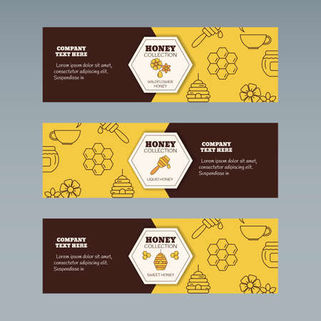 Organic honey collection concept. Vector illustration for website, mobile website, landing page, ui. Vector template. 일러스트