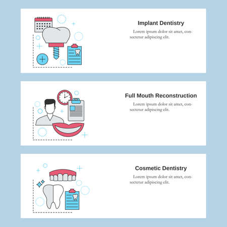 Dental services. Implant dentistry, Full mouth reconstruction, Cosmetic dentistry. Vector template for website, mobile website, landing page, ui.