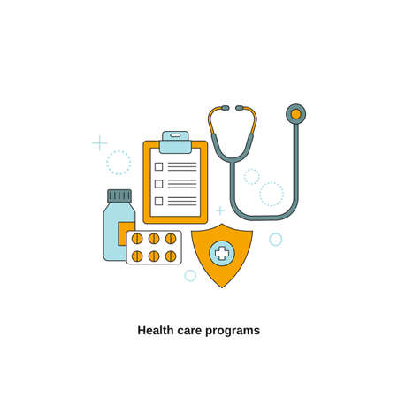 Health care programs concept. Vector template for website, mobile website, landing page, ui.