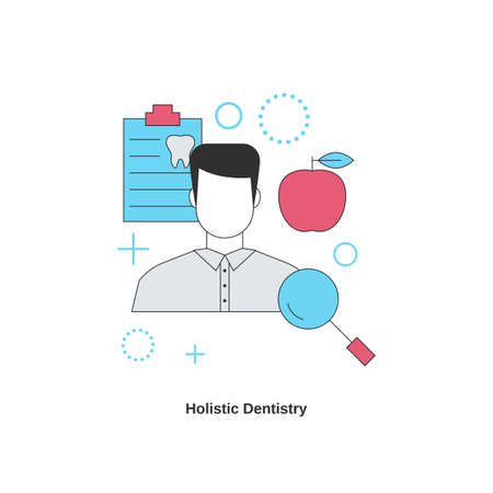 Dental services concept. Holistic dentistry. Vector illustration.