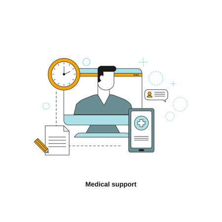 Medical support concept. Vector template for website, mobile website, landing page, ui. 일러스트