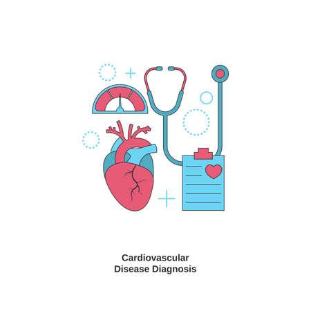 Cardiovascular disease diagnosis concept. Health heart check up. Vector illustration. Ilustração