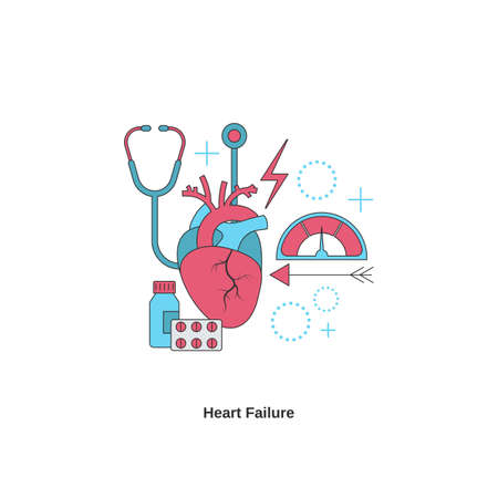 Heart failure concept. Heart disease. Vector illustration.