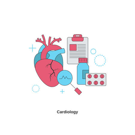 Medical Cardiology concept. Health heart check up. Vector illustration.