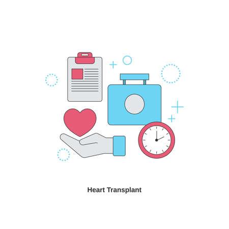 Heart transplant concept. Cardiology system medicine treatment. Vector illustration.