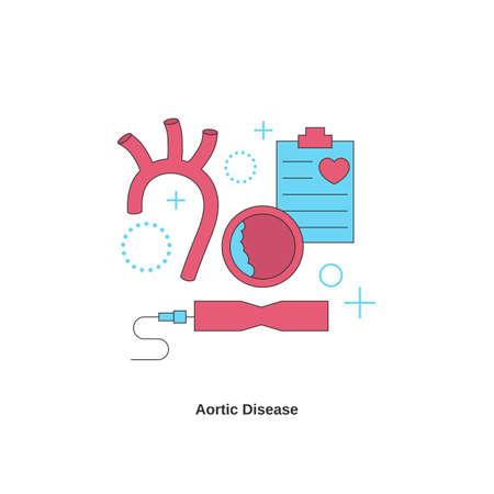 Aortic disease concept. Heart disease. Vector illustration.