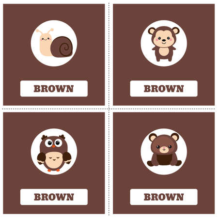 Cards for Learning Colors. Brown color Education set. Illustration of primary colors.