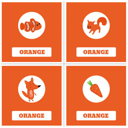 Cards for Learning Colors. Orange color Education set. Illustration of primary colors.