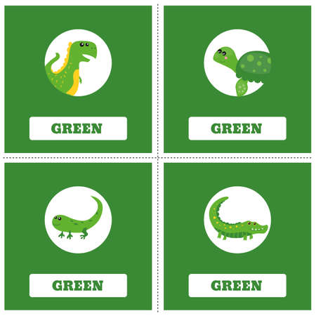Cards for Learning Colors. Green color Education set. Illustration of primary colors.