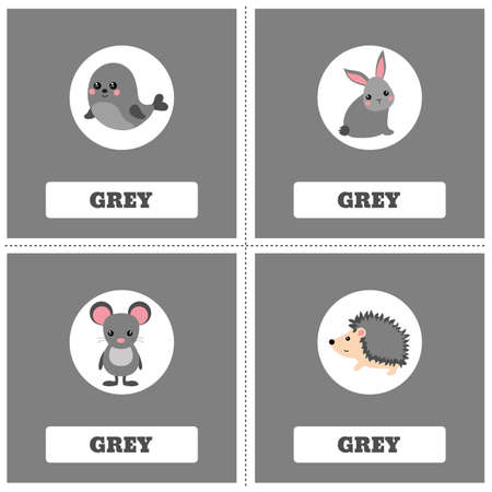 Cards for Learning Colors. Gray color Education set. Illustration of primary colors.