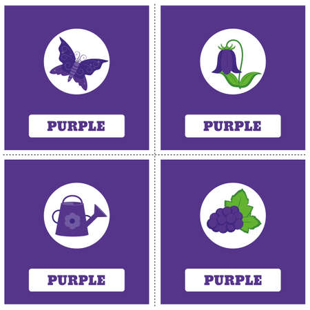 Cards for Learning Colors. Purple color Education set. Illustration of primary colors. Illustration