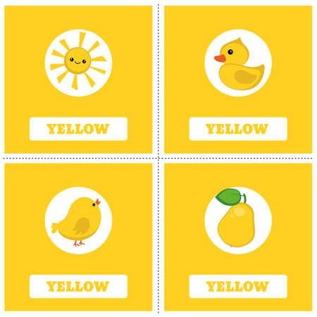 Cards for Learning Colors. Yellow color Education set. Illustration of primary colors.