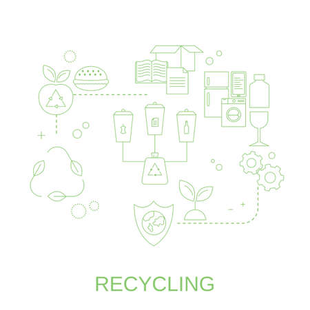 Concept of nature protection and garbage recycling. Recycle for save the earth. Vector illustration. Illustration