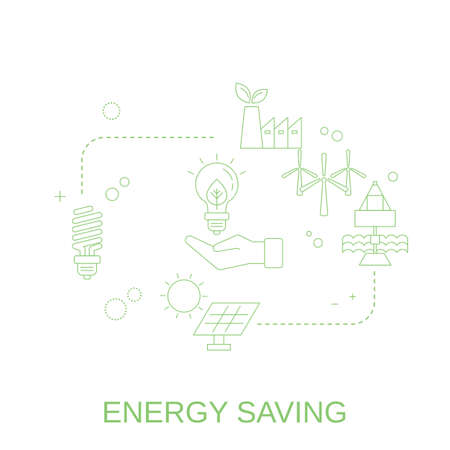 Concept of energy saving. Rational use of energy. Vector illustration.