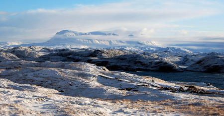 Beautiful Scottish Highlands Snow Mountain, Winter Landscape