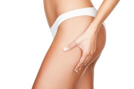 Women Cellulite: Comprobaci�n celllulite Foto de archivo